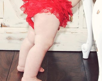 Red Baby Bloomers,Birthday Bloomers,Ruffle Baby Bloomers,Baby Girl Clothing,Diaper Covers,Baby Girl Bloomers,Red Ruffled Bloomers with Lace