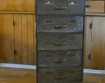 Vintage Filing Cabinet • Shaw Walker Filing Cabinet • Metal 5 Drawer • Industrial Furniture