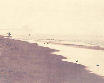 beach cottage decor, surfer photography, Manhattan Beach photograph, October swim, landscape morning brown beach earth tones California