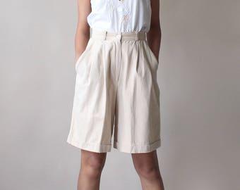high waist khaki shorts | cotton high waisted shorts 1990s xs- small