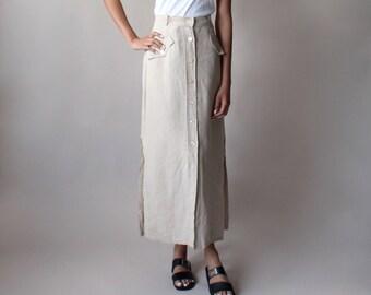 vintage khaki linen maxi skirt | max mara linen skirt