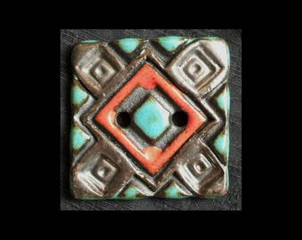 Handmade Ceramic Button: Hot Red Polkadots