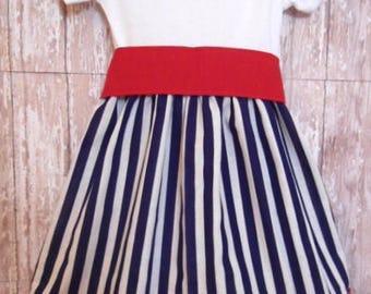 Girls Nautical Cruise Dress, Dark Blue And White Stripe Dress, Birthday Dress, Girls Dress, Ready To Ship, Size 24M