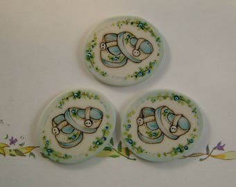 Baby Shoe Buttons set of 3