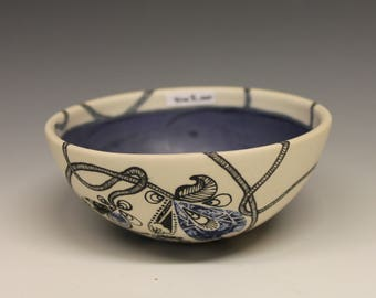 Small Bowl: Hand Drawn With Floral Detail and Royal Blue Interior_ Small_BlueB_0001