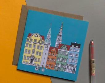 Copenhagen Colour Greetings Card - Eco Scandinavian Design - Copenhagen Skyline
