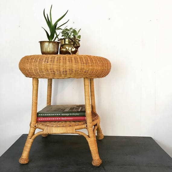 vintage wicker side table - end table - nightstand - plant stand - boho nautical cottage style