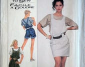 Sewing Pattern Vintage 80's Simplicity 8495, Misses' Loose-Fitting Overalls-Two Lengths, Jumper & Pullover Top, Size 10-12, Uncut FF 1980's
