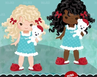 Christmas Clipart. Extra characters for Christmas morning set, curly hair, African american, Christmas morning, pajama, cute teddy, graphics