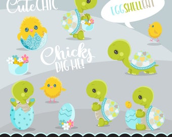 Easter Turtle and Chicks clipart, cute spring graphics, svg lettering, illustration, planner stickers, scrapbooking, character, valentine's