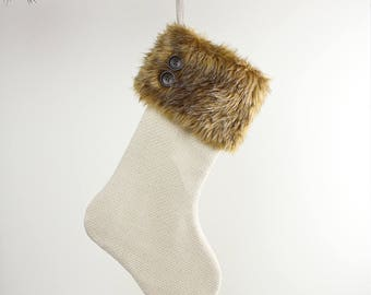 Monks Cloth Christmas Stocking with Fur Cuff and Button Detailing - White and Caramel Christmas Decoration - Modern Farmhouse/Wanderluster
