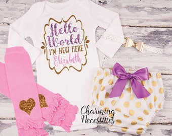Hello World I'm New Here Newborn Personalized  Baby Girl Coming Home Outfit Baby Shower Gift Hospital Outfit purple pink