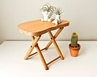 Folding Stool, Plant Stand,  Vintage Nevco Foldn Carry Wooden Stool, Camp Stool, Wood Seat