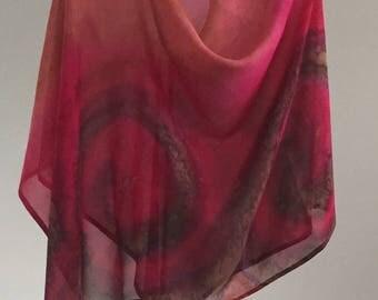 Sunset Spice Poncho Hood- Hand Painted Silk Chiffon
