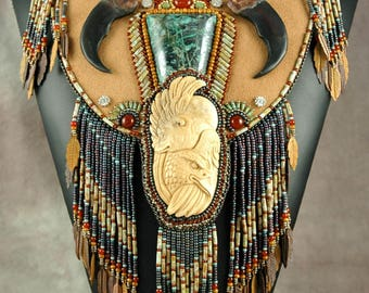 Bead embroidery, Beaded, necklace, bear, eagle, carved bone, nickeline ore, original necklace