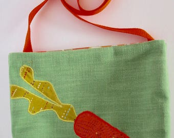 Green Crossbody Bag with Carrot