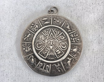 Double sided Mayan Calendar Zodiac Pentacle Pendant - Sterling Silver