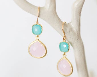 Matte Gold drop earrings, Pink and blue glass, beach-inspired, dangle, charm, jewelry, bridesmaid gift, Handmade in Santa Cruz