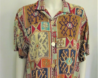 Vintage 1980's Desert Geometric Print Top or Blouse with Beaded Details, 80's Woman's Big Shirt, OSFA, L, XL