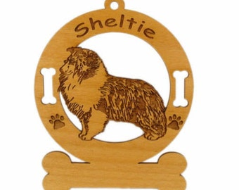 3932 Sheltie Blue Merle Stack Personalized Dog Ornament