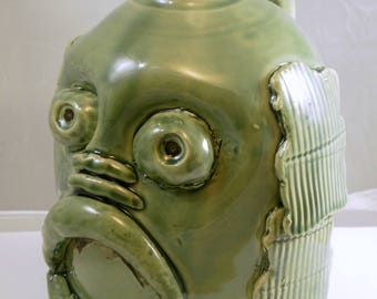 Black Lagoon Creature handmade decorative jug