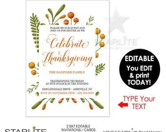 Thanksgiving Invitation EDITABLE, Thanksgiving Invitation INSTANT DOWNLOAD, Thanksgiving Invite Printable Download, Editable Download Invite