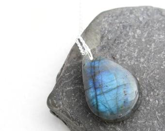 Small Labradorite Necklace, Blue Semi Precious Gemstone Jewelry, Teardrop