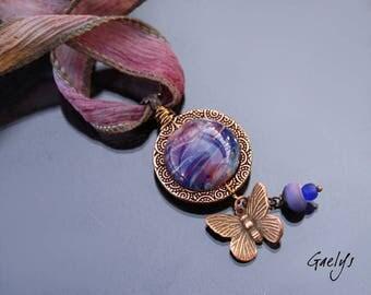 Blush - collier ruban anneau métal cuivré et lampwork multicolore (ruban soie teint à la main) -  Gaelys