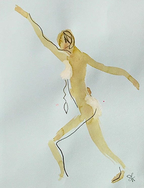 Nude painting of One minute pose 106.1 - Original nude painting by Gretchen Kelly