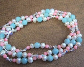 Crystals with Hand Knotted Beaded  - Necklace