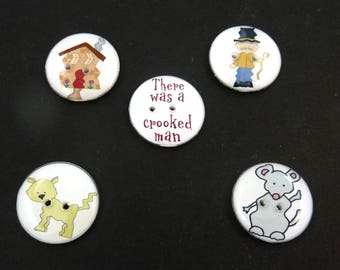 """5 Crooked Man Buttons. Children's Nursery Rhyme Handmade Buttons. Sew on.  3/4"""" or 20 mm."""