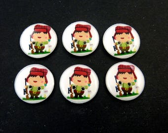 "6 Hunting Buttons.  3/4"" or 20 mm.  Duck Hunting Sewing Buttons."