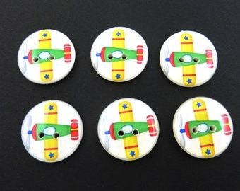 "6 Airplane Buttons.  Green, Yellow and Red Airplane or Aviator Buttons.  3/4"" = 20 mm Round."