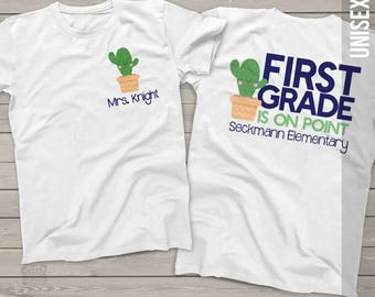 Teacher on point cactus any grade personalized crew neck or vneck shirt - back to school team teacher shirts MSCL-047