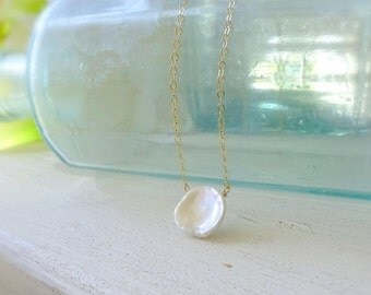 Petal shaped keshi pearl pendant solitaire necklace, June birthstone, bridal bridesmaid jewelry, minimal dainty layering layered delicate