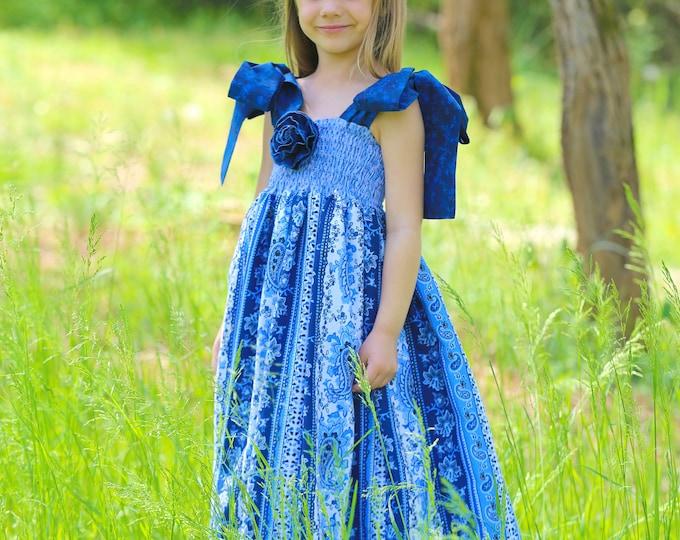 Girls Maxi Dress - Toddler Long Dress -  Photo Prop - Flower Girl Dress - Delft Blue - Full Length Dress - Toddler Girl Clothes - 12mo to 8y
