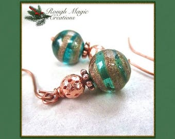 Green Christmas Earrings, Lampwork Balls, Copper Glitter, Holiday Jewelry, 7h Anniversary for Wife, Present for Women, Gift for Her  E398