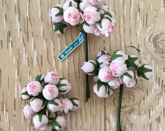 Sweet Vintage Millinery Flowers, Soft Pink Rosebuds from the 1950s, Made in Japan