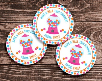 Personalized Last Day of School Tags or Stickers – 2, 2.5 or 3 Inch Circle – DIY Printable – Gumball Pink (Digital File)