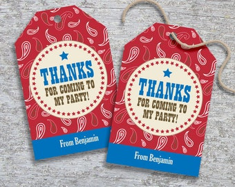 Personalized Cowboy Party Favor Tags – DIY Printable – Hang Tags (Digital File)