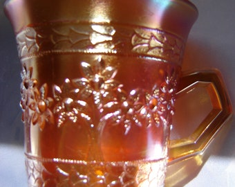 Orange Tree Coffee cup Carnival Glass Antique