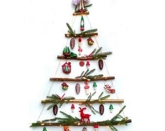 Rustic CHRISTMAS TREE - Space Saving - Everlasting - Ladder Style - Branch Tree - Alternative - Hanging Tree - Wall Hanging - Christmas
