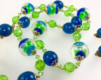 Lucite Bead Necklace, Blue and Green Bubble Necklace, Clip Dangle Earrings, Jewelry Set, Costume Jewelry, 1950's Jewelry