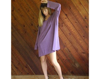 Slinky Lavender l/s Mini Dress - Vintage 90s - L/XL Petite
