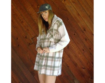 Plaid Rib 90s Oversized Contrast Hooded Sweatshirt - Vintage - L