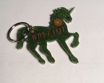 UNICORN glitter resin key ring