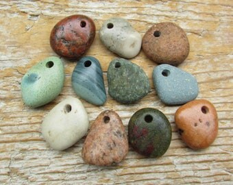 Colorful NATURAL STONE Pendants Top Drilled Stones Lake Stone Charms 3mm