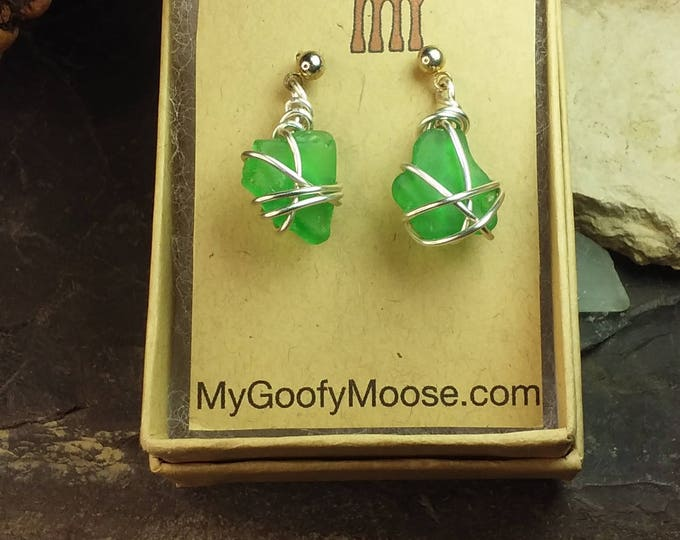 Sea Glass Earrings - Lake Michigan Beach Glass Earrings - Eco Friendly Birthday Gift for Her - South Shore Beach Glass by Goofy Moose
