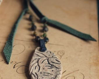 The Reef Necklace. Rustic, Upcycled, Bohemian, Summer, Beach, Ceramic Pendant and Leather Necklace.
