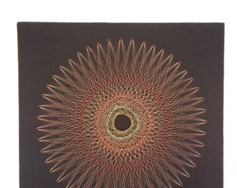 Vintage Geometric Flower string art ~ Colorful 70's Wall Art ~ Garden decor